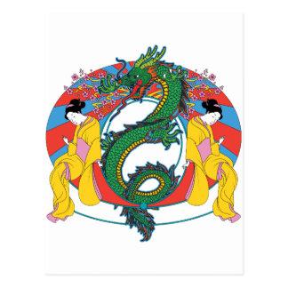 Geishas med draken vykort