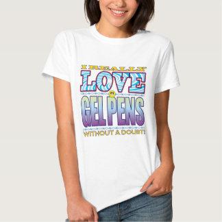 Gelen skrivar kärlekansikte t-shirts
