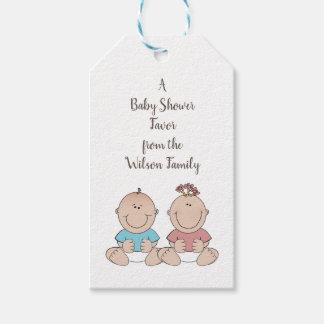 Gender för två babyar avslöjer duschfavörmärkre presentetikett