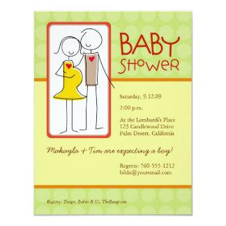 Genderneutraltbaby shower 10,8 x 14 cm inbjudningskort