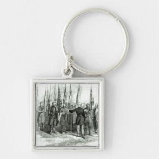 General Custer Fyrkantig Silverfärgad Nyckelring