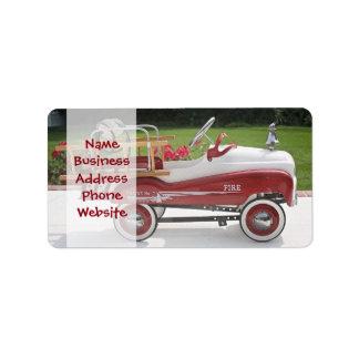 Generisk bil för Firetruck för bil för Adressetikett