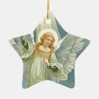 Generöst - skyddsängel av generositet stjärnformad julgransprydnad i keramik