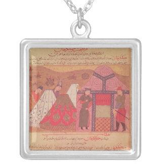 Genghis Khan utanför hans tält Silverpläterat Halsband