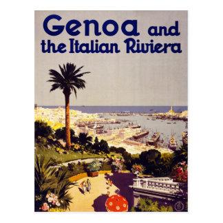Genoa och den italienska Rivera vintage affisch Vykort