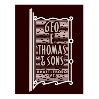 Geo. E. Thomas & vykort för logotyp för