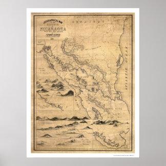 Geografisk Nicaragua karta 1855 Poster