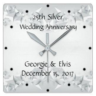 Geometrisk 25th bröllopsdag för silver fyrkantig klocka