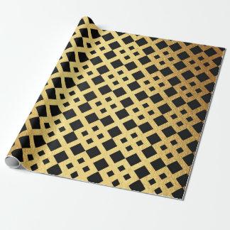 Geometrisk abstrakt guld- prydnad Vip för art déco Presentpapper