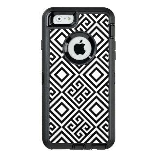 Geometrisk abstrakt svart vit fodrar mönster OtterBox defender iPhone skal