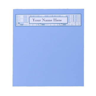 Geometrisk anteckningsblock för blått med ditt