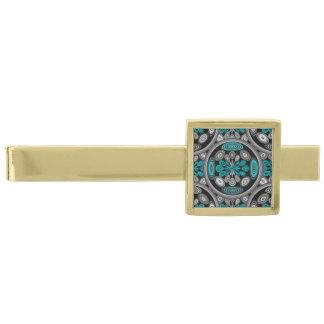 Geometrisk arabesque guldpläterad slipsnål