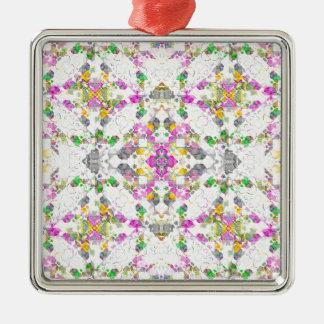 geometrisk Boho för tshirt chic Silverfärgad Fyrkantigt Julgransprydnad
