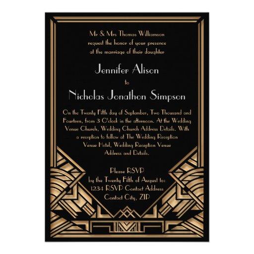 Geometrisk bröllopsinbjudningar för art décoGatsby Skräddarsydda Inbjudan