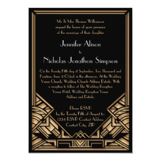 Geometrisk bröllopsinbjudningar för art décoGatsby 12,7 X 17,8 Cm Inbjudningskort