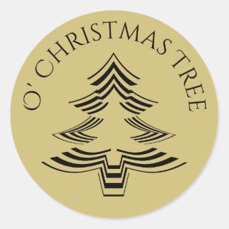 Geometrisk guld och svart för O julgran Runt Klistermärke