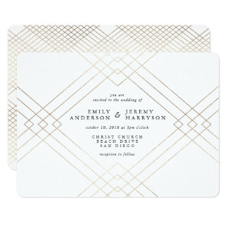 Geometrisk inbjudan för art décovitGatsby bröllop
