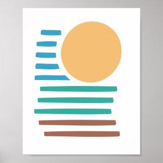 Geometrisk konst - strandsolnedgång posters