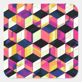 Geometrisk kubpopkonst fyrkantigt klistermärke
