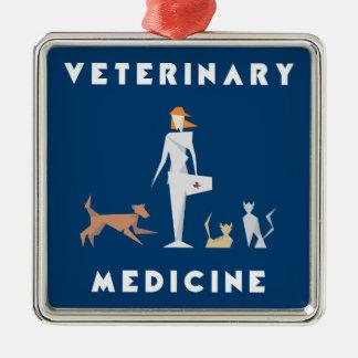 Geometrisk kvinna för veterinär- medicin silverfärgad fyrkantigt julgransprydnad
