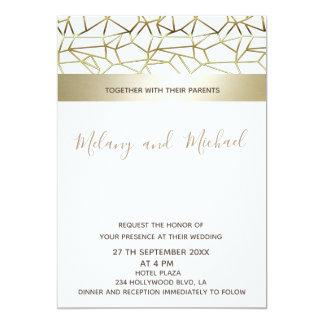 Geometrisk lyxig guldsvart/vit 12,7 x 17,8 cm inbjudningskort