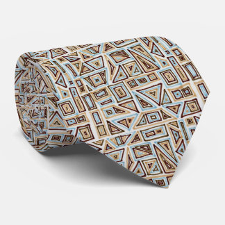 Blue and Brown Geometric Pattern Mens Tie