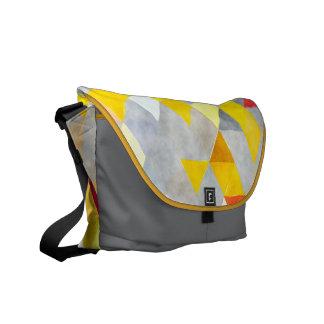 Geometrisk ryggsäck för gult- och grå kurir väskor
