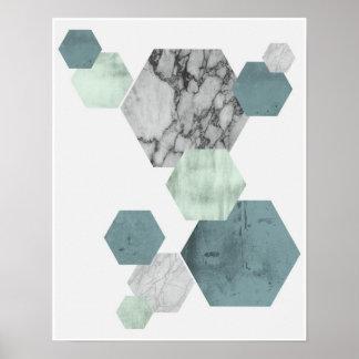 Geometrisk skandinavisk kust- tonsexhörningskonst poster