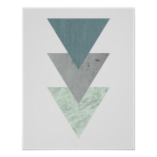 Geometrisk skandinavisk kust- tontriangelkonst poster