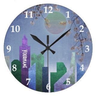 Geometrisk stad vårnattSakura för körsbärsröd Stor Klocka