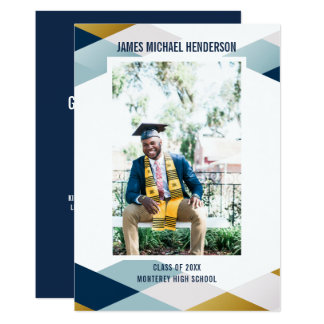 Geometrisk studentfest för modernt akademikert 12,7 x 17,8 cm inbjudningskort