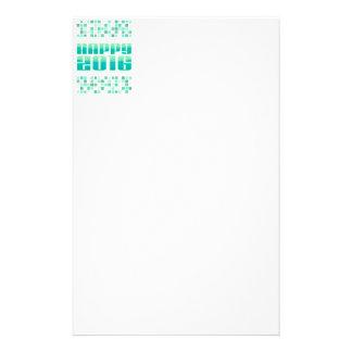 Geometrisk turkosgott nytt år 2016 brevpapper