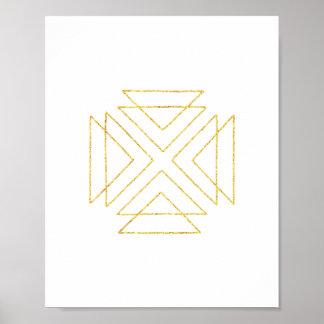 Geometrisk väggkonst för guld- stam- trianglar poster