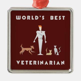 Geometrisk världs bäst veterinär silverfärgad fyrkantigt julgransprydnad