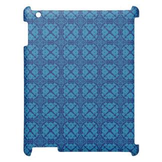 Geometriska blom- blått för vintage på blått iPad mobil skydd