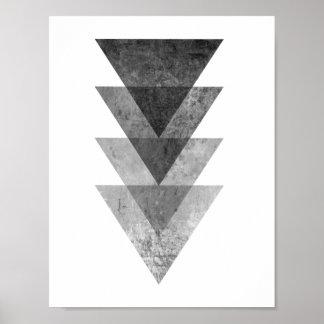 Geometriska gråa trianglar poster