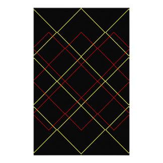 Geometriska gula röd linje på svart brevpapper