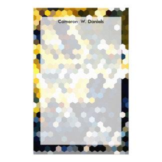 Geometriska | gult- och blåttsexhörningar för brevpapper