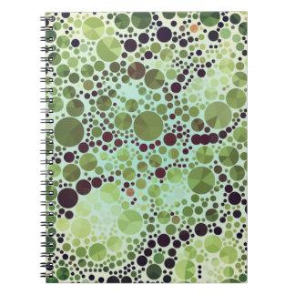 Geometriska mönster grön | cirklar och trianglar anteckningsbok med spiral