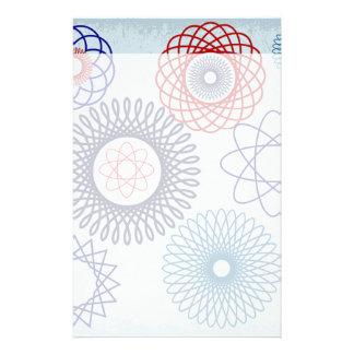 Geometriska röda mönsterblått för skraj Spirograph Brevpapper