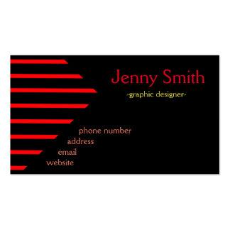 Geometriska svart röda randar set av standard visitkort