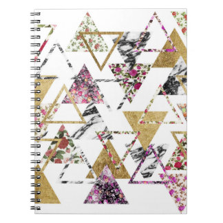 Geometriska trianglar för chic blom- guld- marmor anteckningsbok med spiral