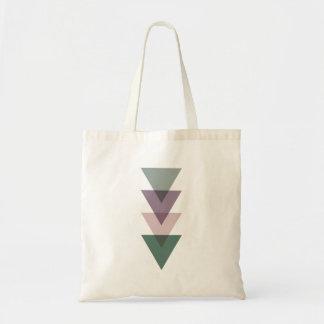 Geometriska trianglar i grönt & lilor budget tygkasse