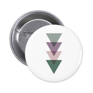 Geometriska trianglar i grönt & lilor standard knapp rund 5.7 cm