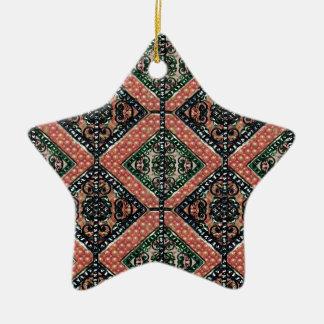 Geometriskt dekorativt motiv stjärnformad julgransprydnad i keramik