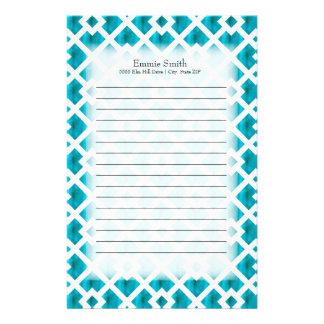 Geometriskt galler för personligblåttvit brevpapper
