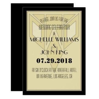 Geometriskt kort för inbjudan för 20-talörnbröllop