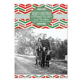 Geometriskt kort för julhelgdagfoto 12,7 x 17,8 cm inbjudningskort