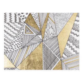 Geometriskt modernt guld för faux för chicsvartvit vykort