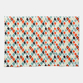 geometriskt mönster för moderna retro färgrika kökshandduk